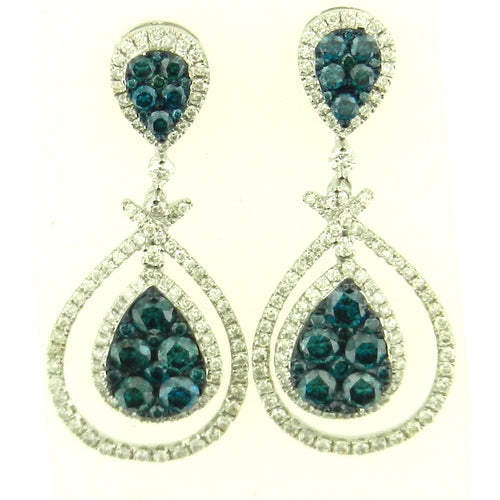 Tear Drop Blue Diamond Earrings