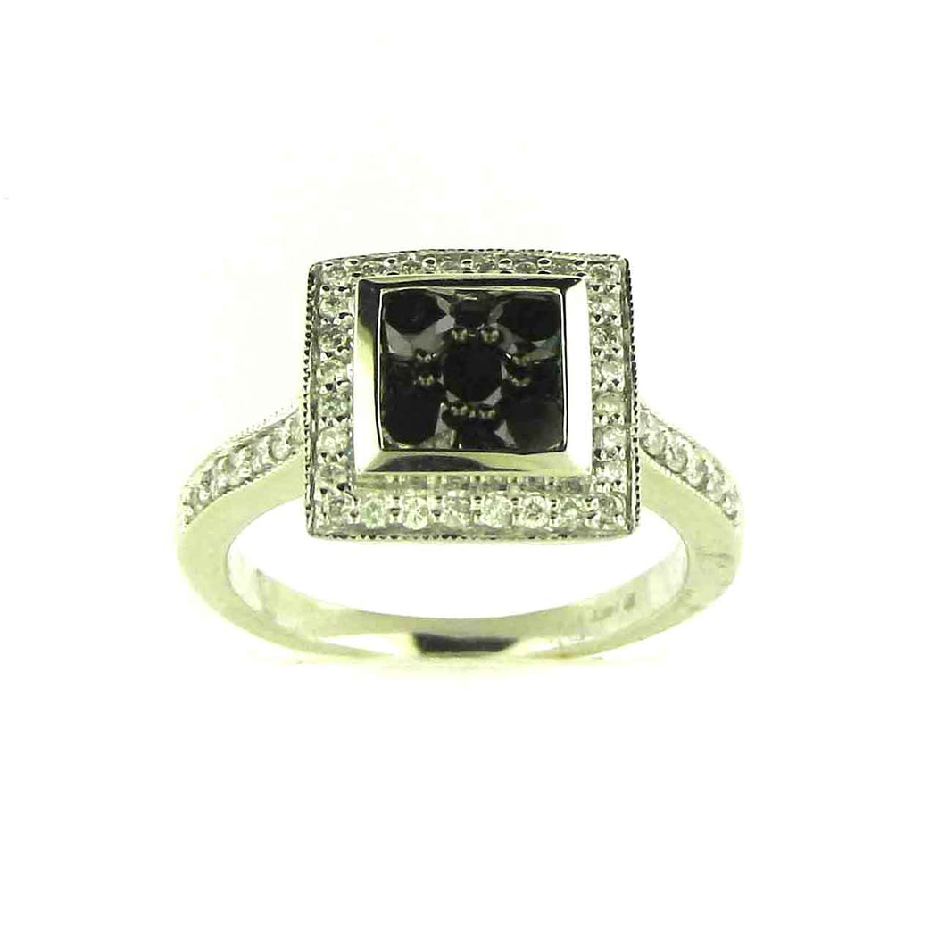 SQUARE CLUSTER BLACK DIAMOND RING