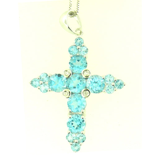 Cross Blue Topaz Pendant