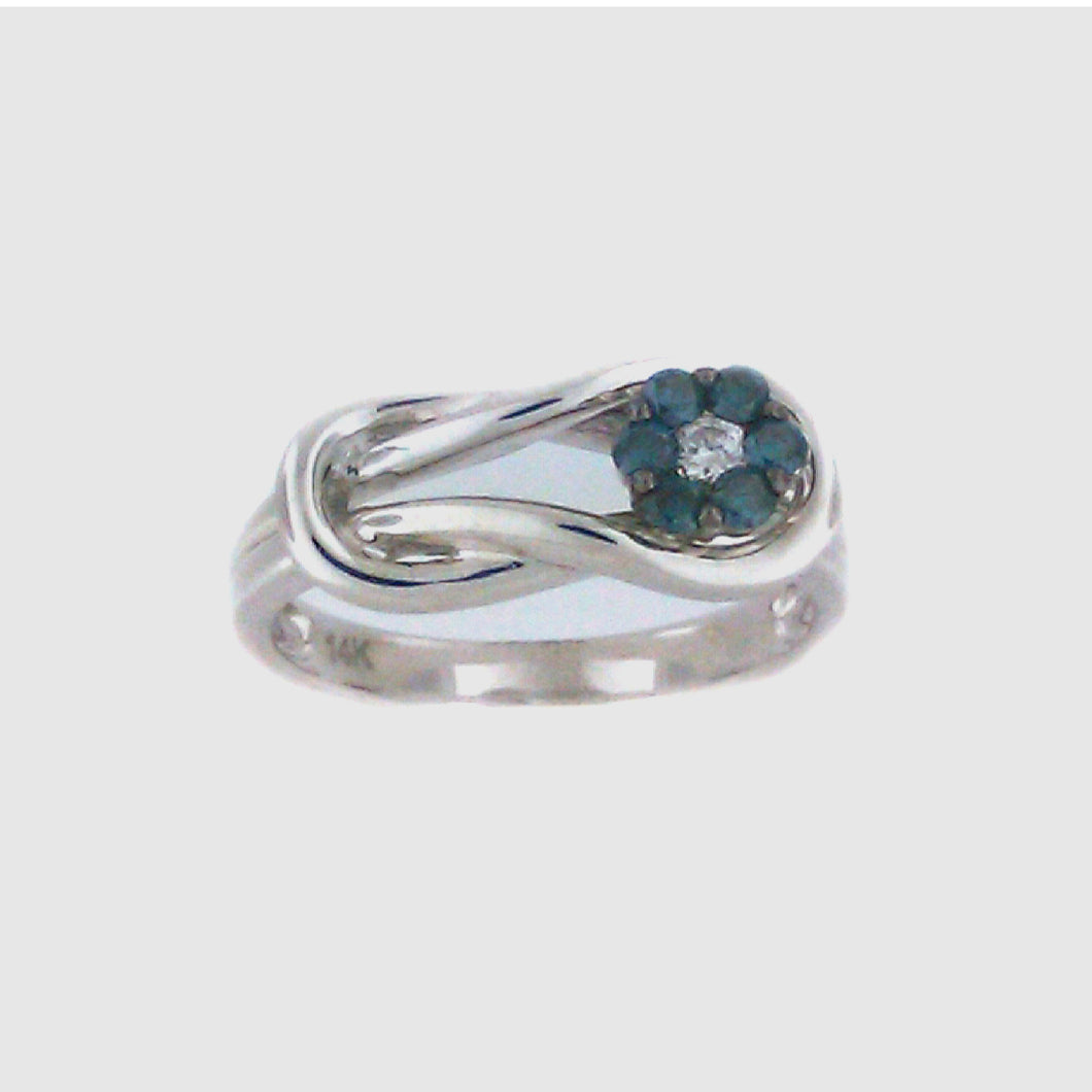 Interlocking Flower Blue Diamond Ring