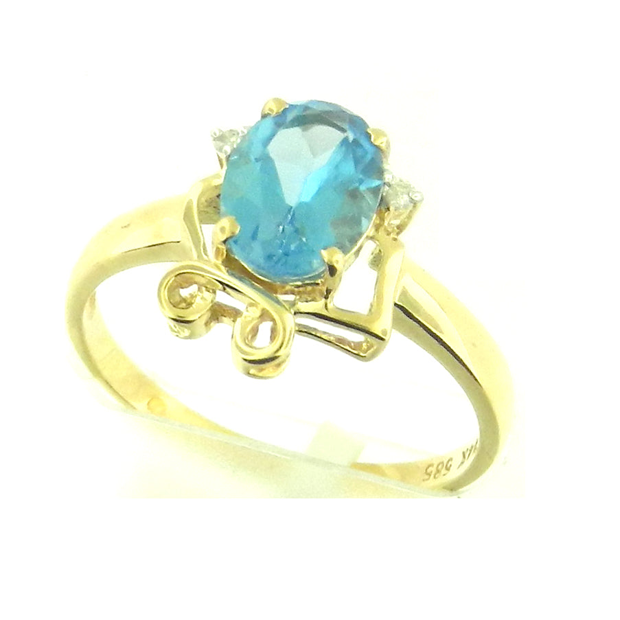 Oval Blue Topaz Ring