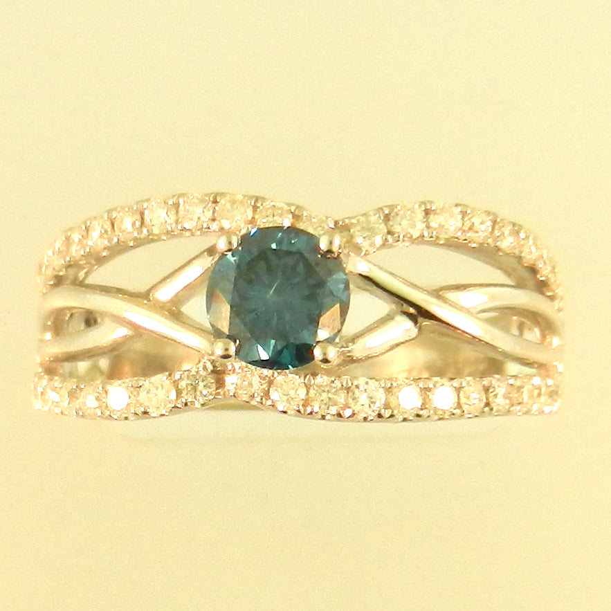 Caged Blue Diamond Ring