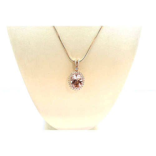 MORGANITE AND DIAMOND NECKLACE 27022