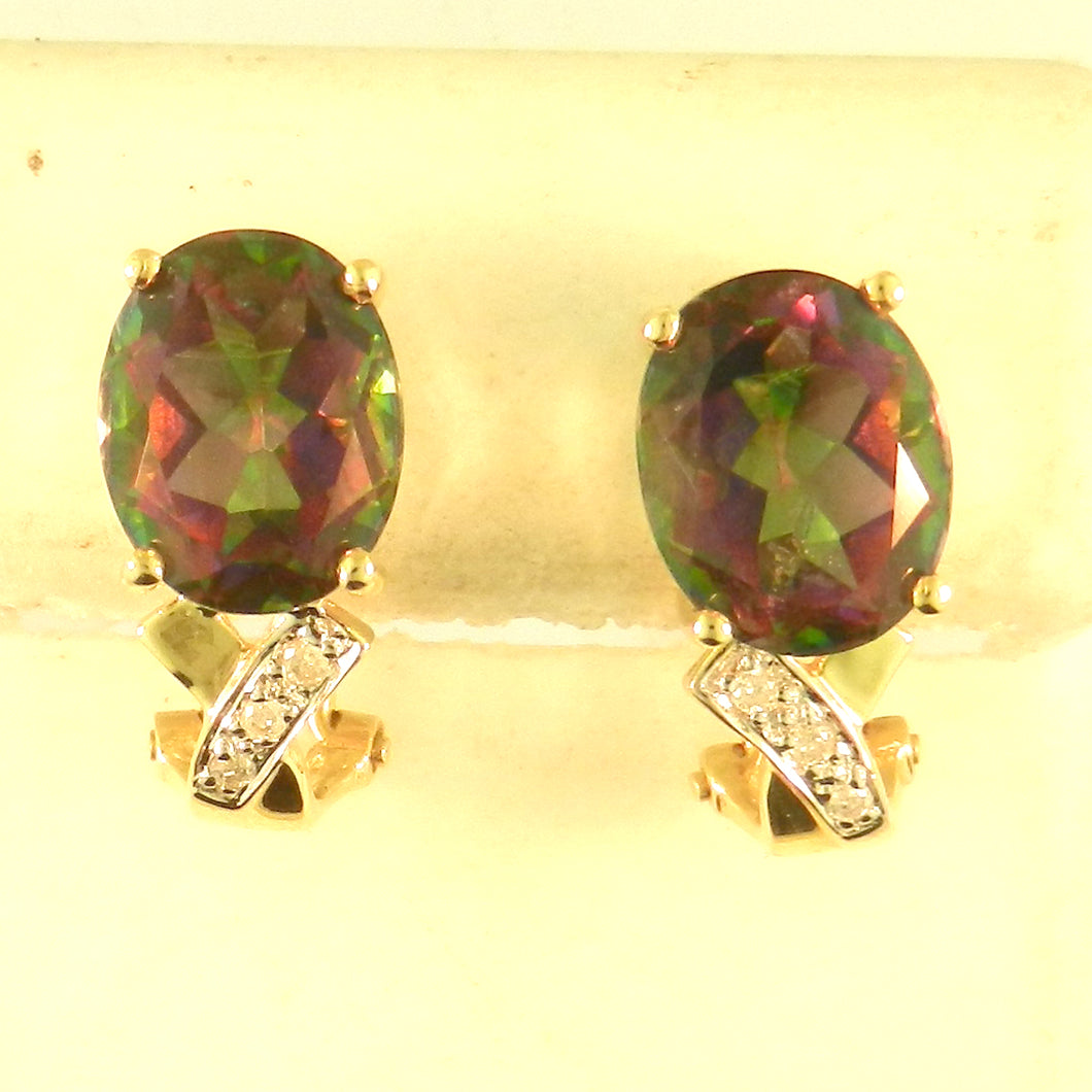 Oval Rainbow Topaz Earrings