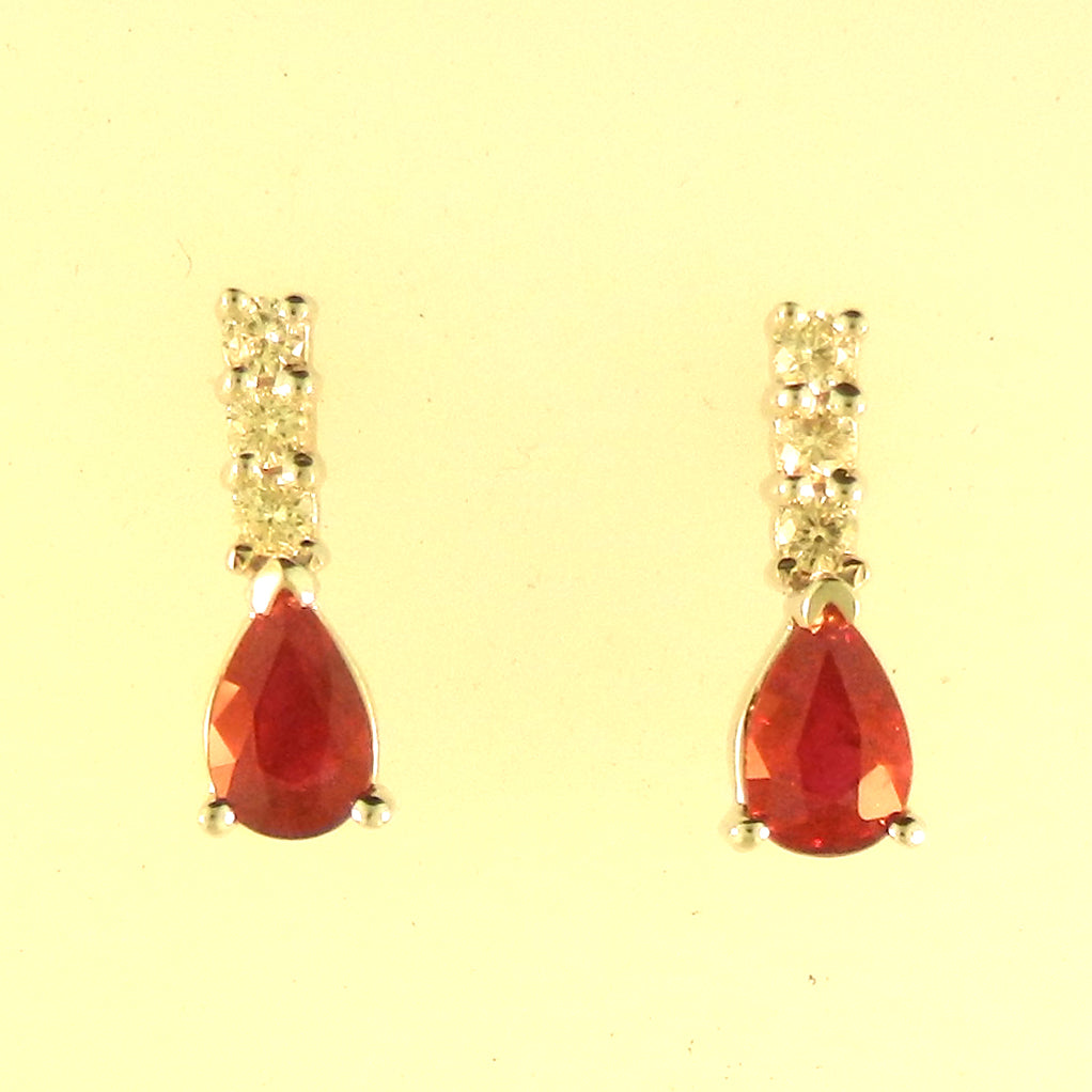 Tear Drop Ruby Earrings