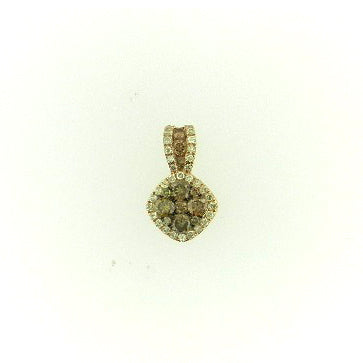 Flower Cluster Brown Diamond Pendant