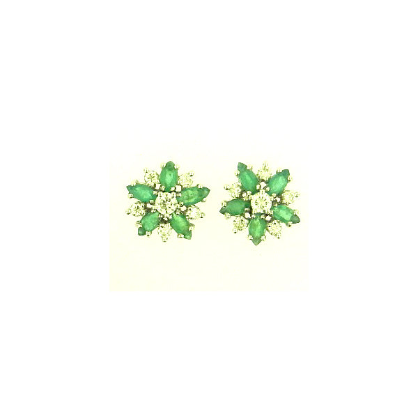 Flower Emerald Earrings