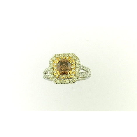 Solitaire Brown & White Diamond Ring