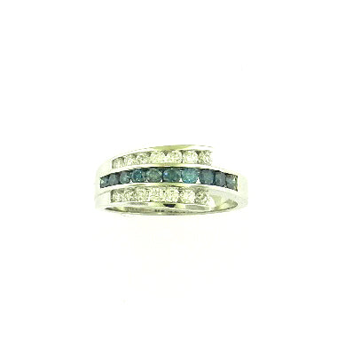 Three Row Blue Diamond Ring