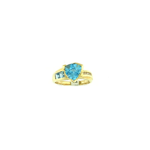 Triangle Blue Topaz Ring