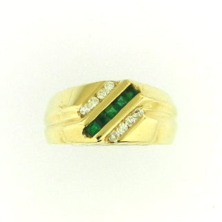 Men's Emerald & Diamond Band