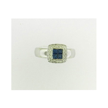 Princess Cut Sapphire Diamond Ring
