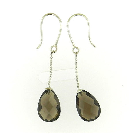 Tear Drop Smokey Topaz Earrings