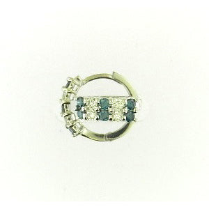 Blue Diamond Hoop Earrings