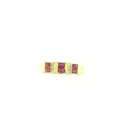 3 Row Ruby Ring
