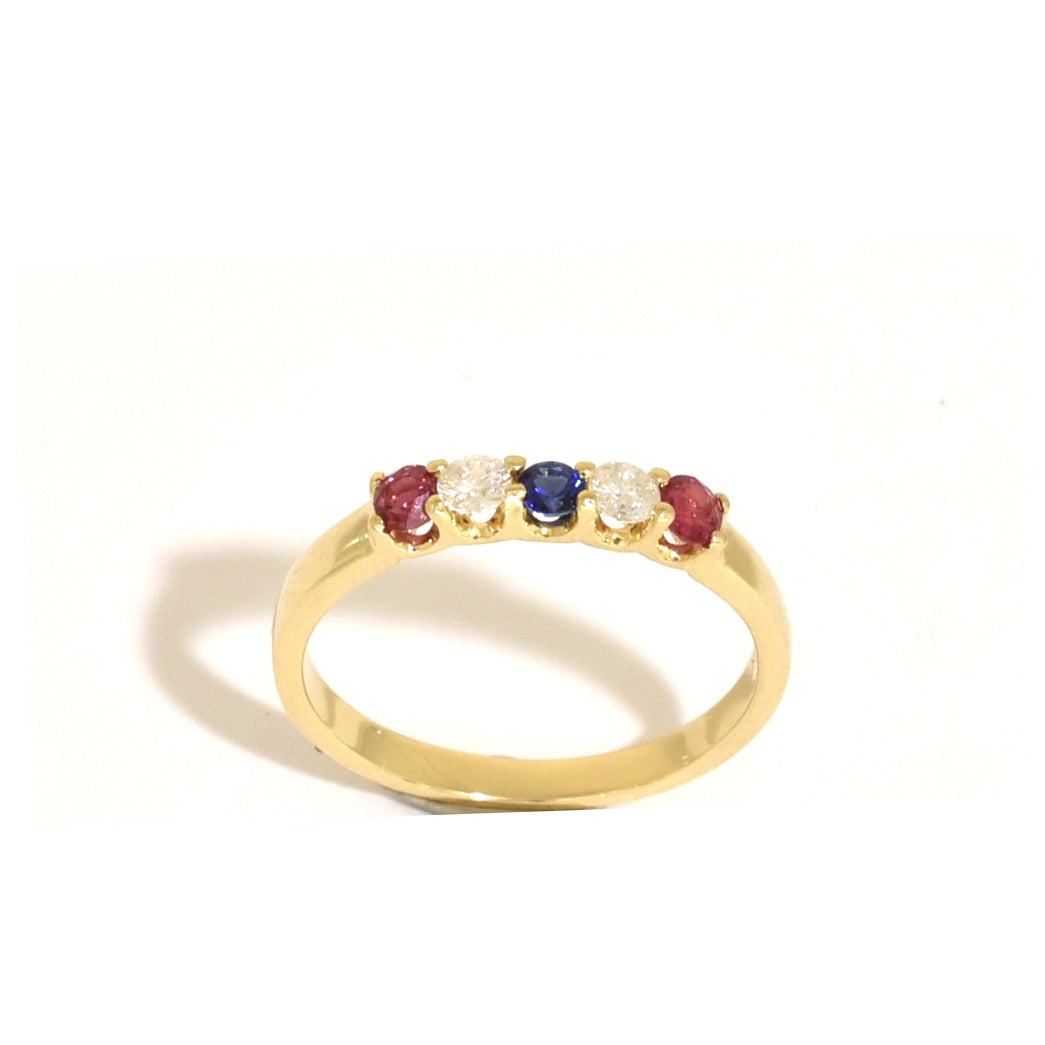 5 Stone Multi Ruby Ring
