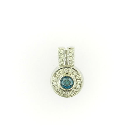 Solitaire Blue Diamond Pendant