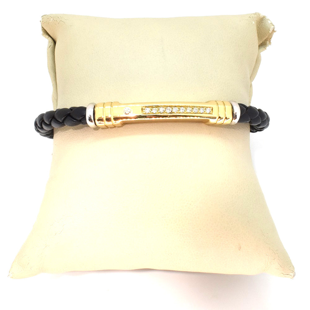 MEN'S LEATHER/GOLD DIAMOND BRACELET