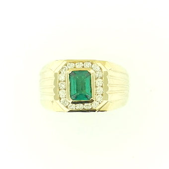 Mens Emerald & Diamond Band