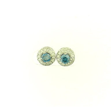 Halo Blue Diamond Earrings