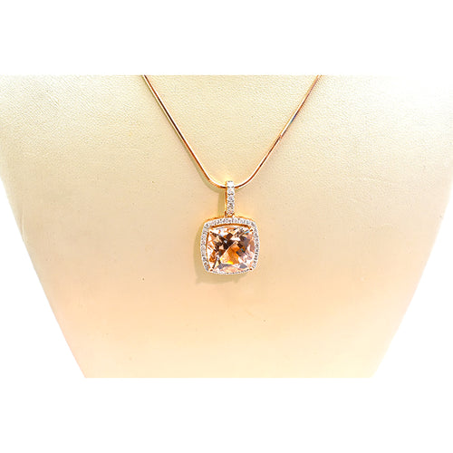 MORGANITE AND DIAMOND NECKLACE 33227