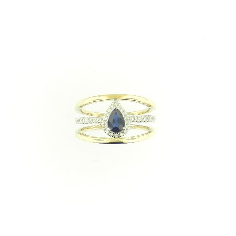 Tear Drop Sapphire Diamond Band