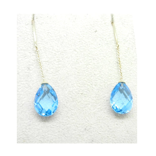 Tear Drop Blue Topaz Earrings