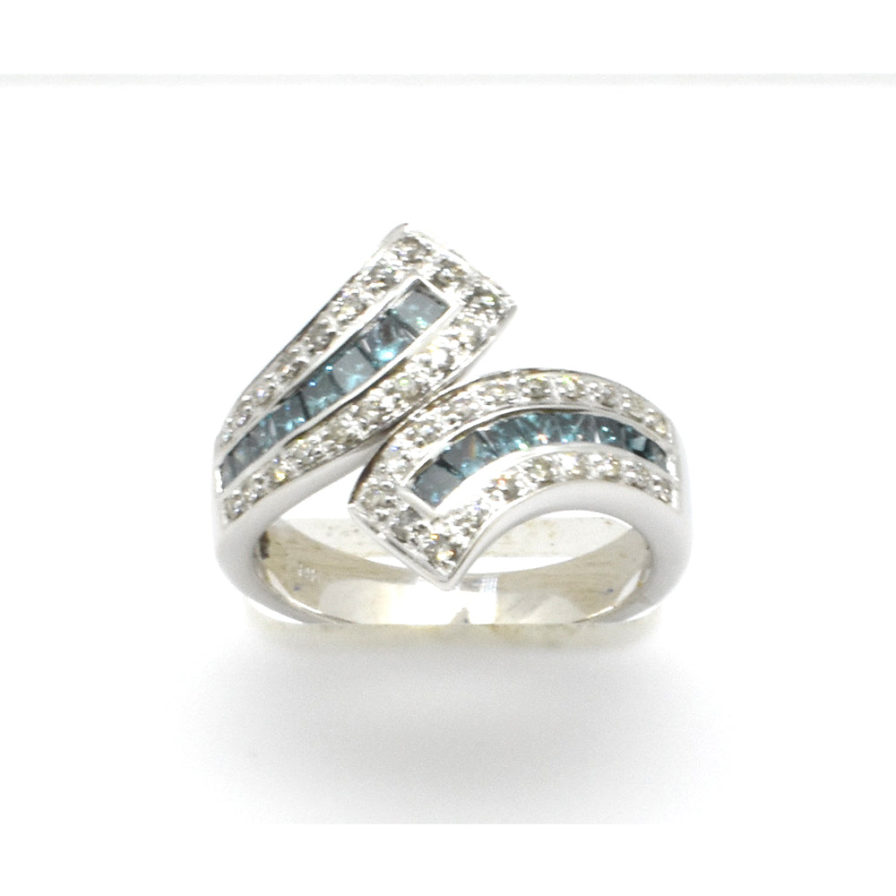 Curved Blue Diamond Ring