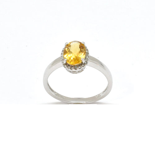 Halo Oval Citrine Ring