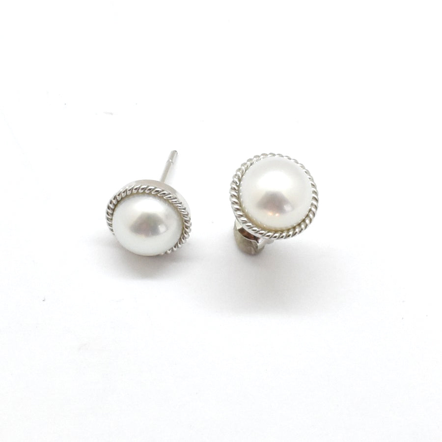 Gold Trim Pearl Studs