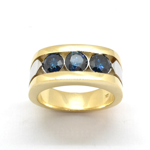 3 Stone Blue Diamond Band