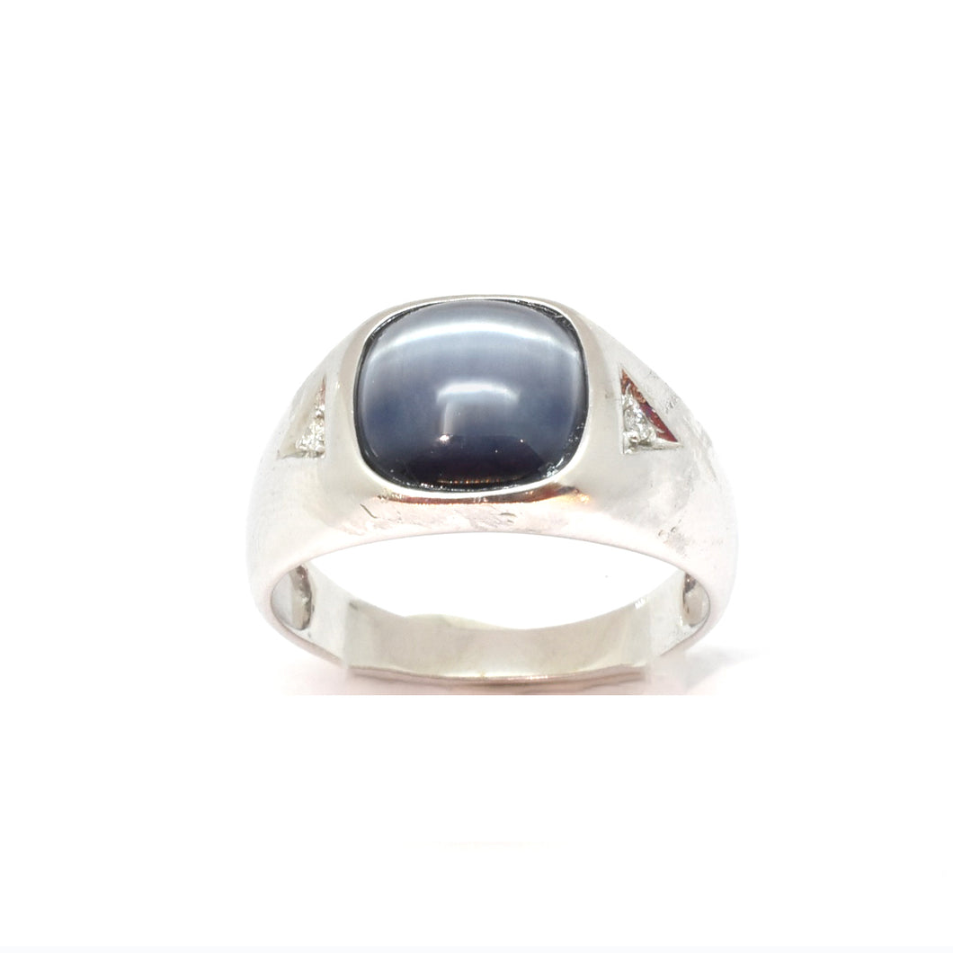 Mens Grey Cat Eye Ring