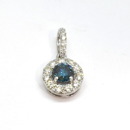 Halo Blue Diamond Pendant