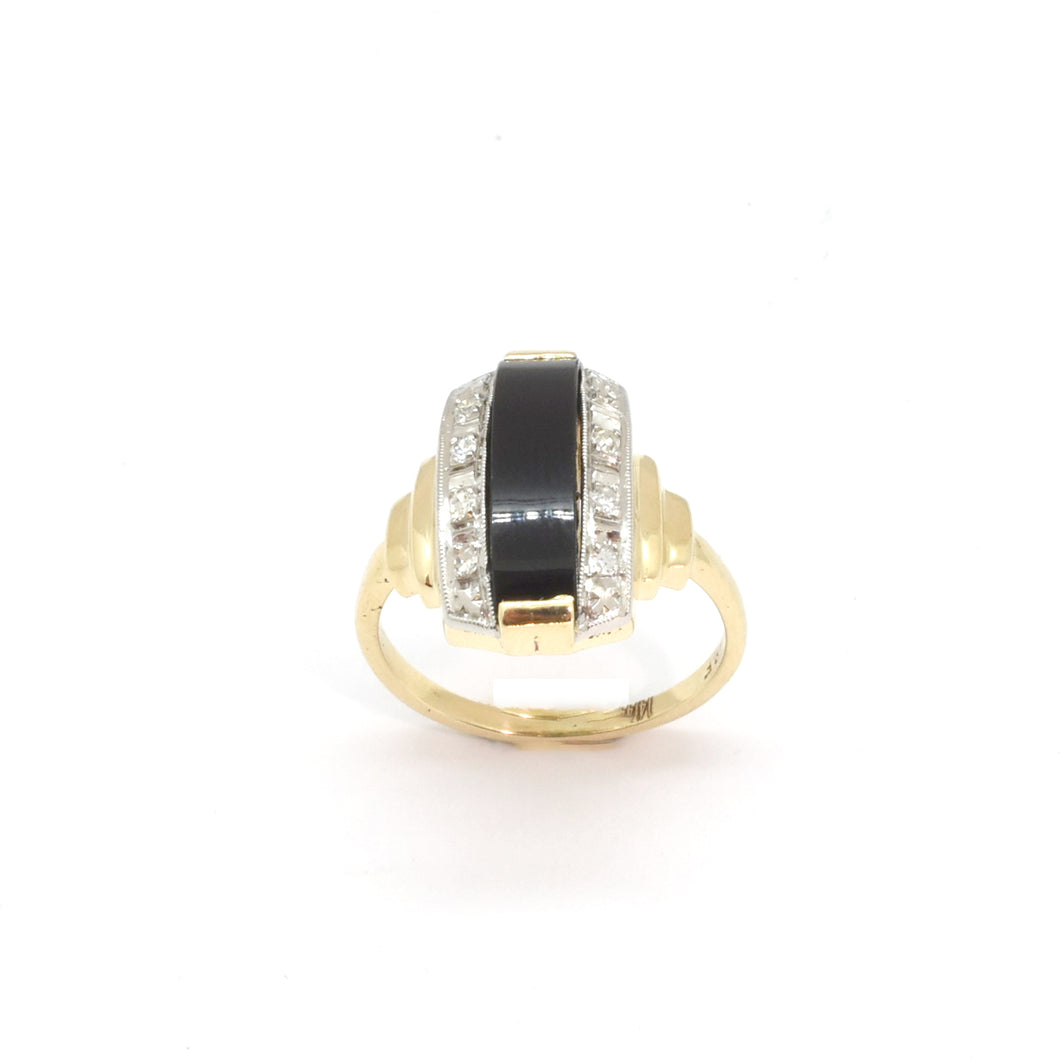 Onyx & Diamond Bridge Ring