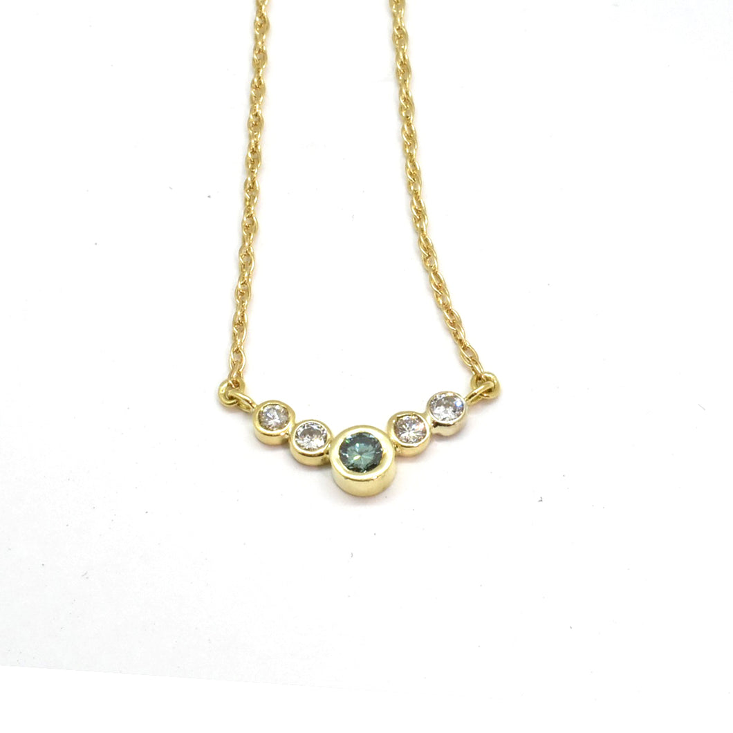 5 Stone Bezel Blue Diamond Necklace