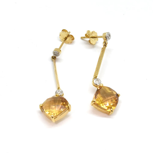 Cushion Citrine Earrings