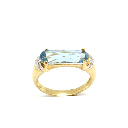 Rectangular Blue Topaz Ring