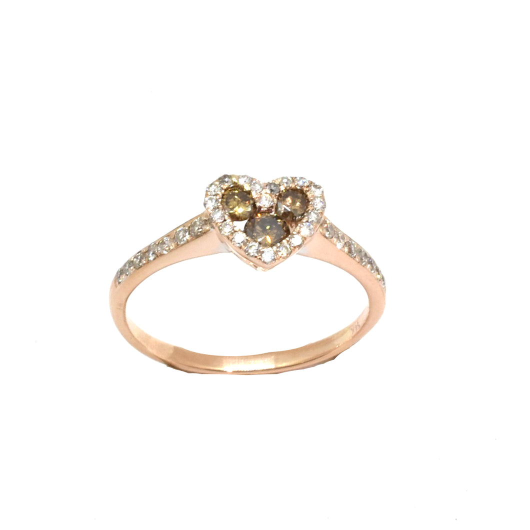 Heart Shape Brown Diamond Ring