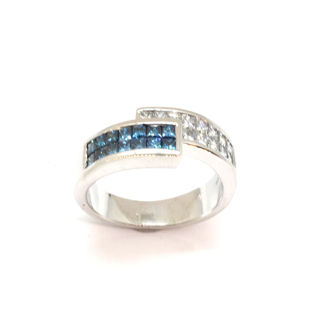 Princess Cut Blue Diamond Ring