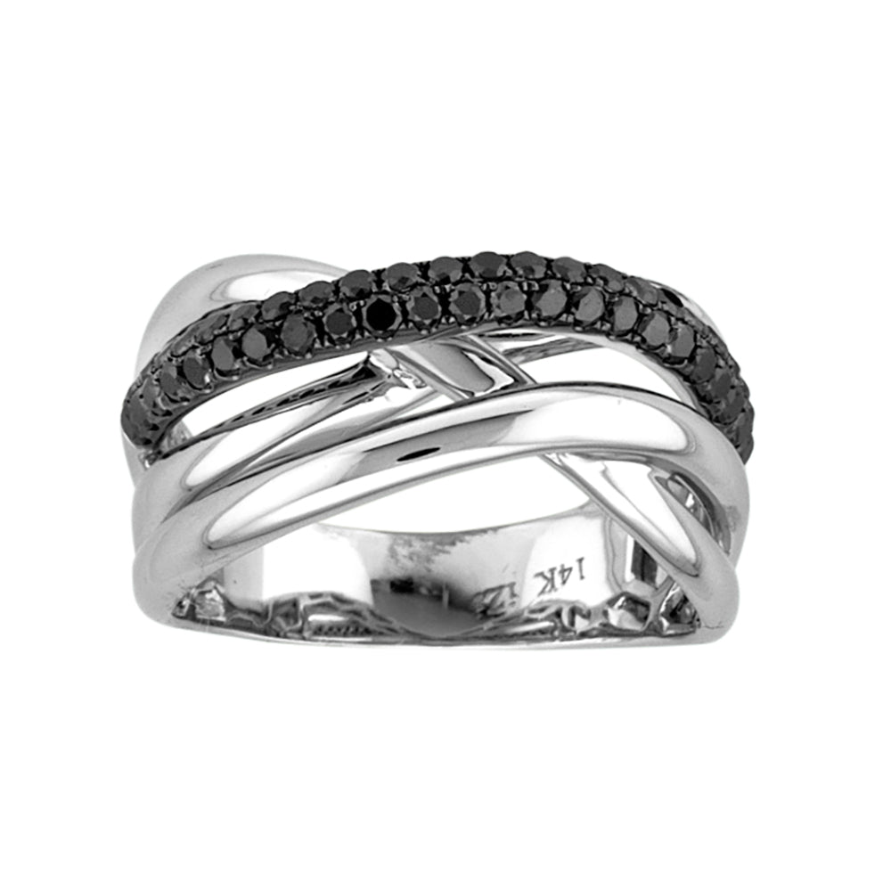 BLACK AND WHITE DIAMOND CRIS-CROSS RING