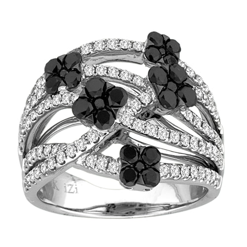 BLACK AND WHITE DIAMOND CRISS-CROSS FLOWER RING