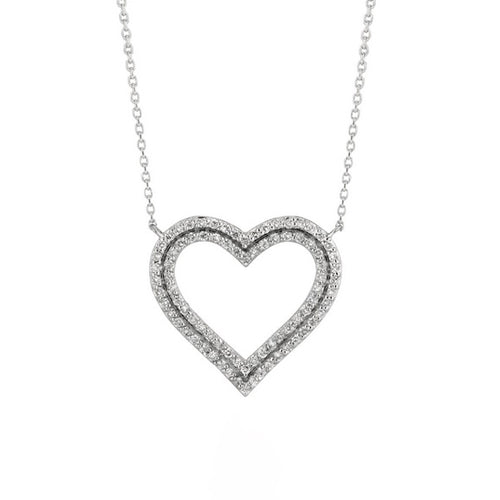 DOUBLE ROW DIAMOND HEART NECKLACE