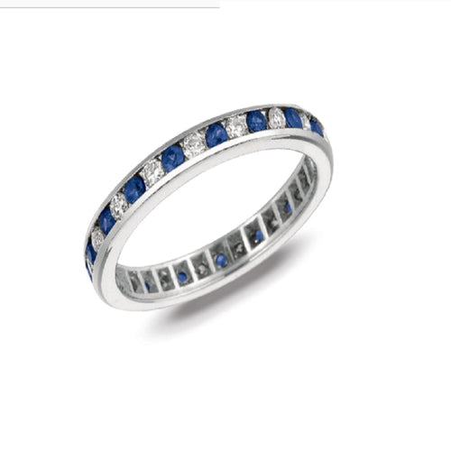CHANNEL SET DIAMOND AND SAPPHIRE ETERNITY BAND