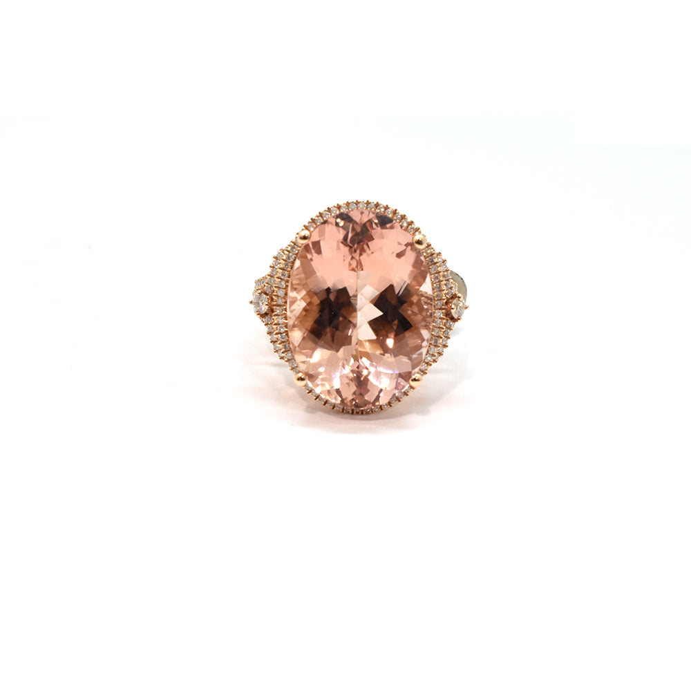 MORGANITE AND DIAMOND RING 30389