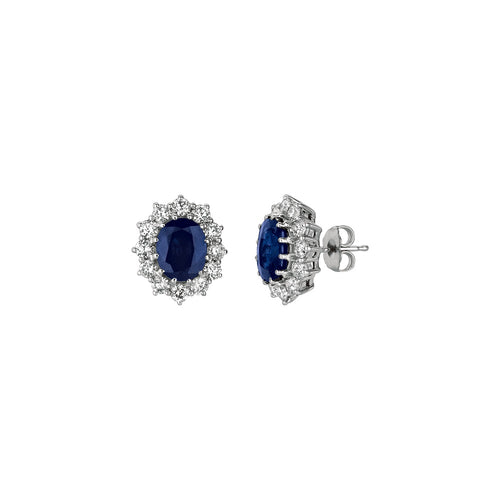 OVAL SHAPE SAPPHIRE AND DIAMOND EARRINGS