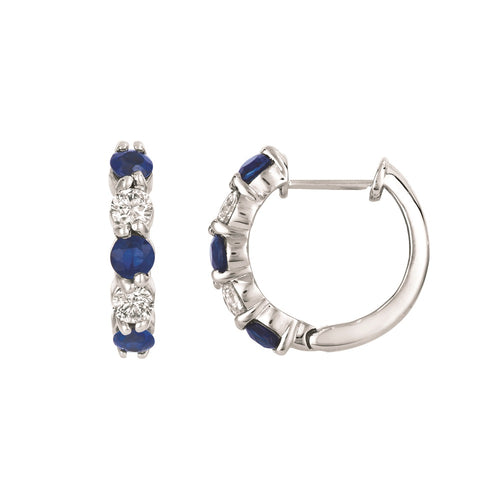 BLUE SAPPHIRE AND DIAMOND HOOPS