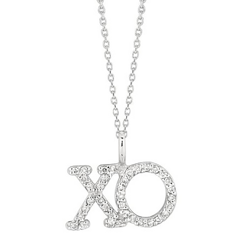 White Gold XO Pendant Necklace