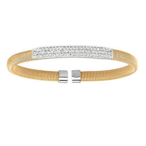 Yellow and White Gold Bangle Bracelet