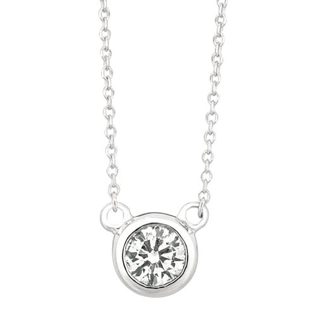 White Gold Round Pendant Necklace