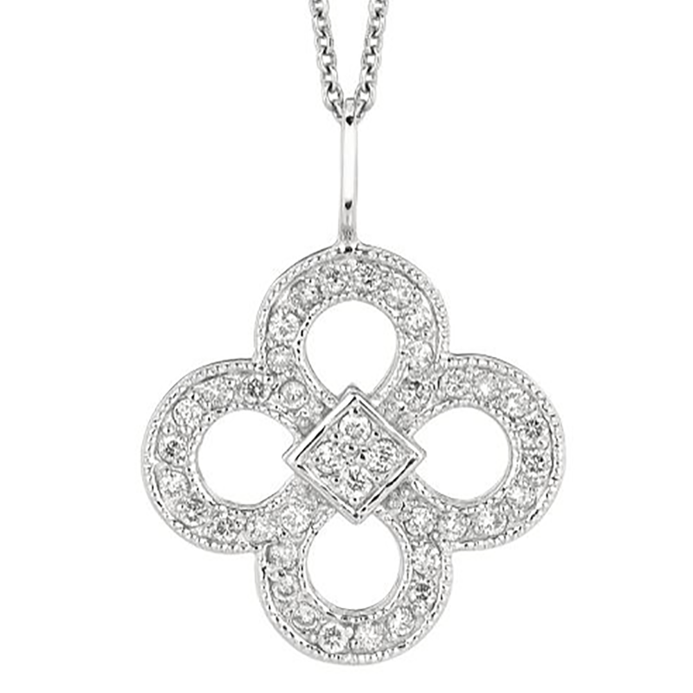 White Gold Diamond Clover Pendant